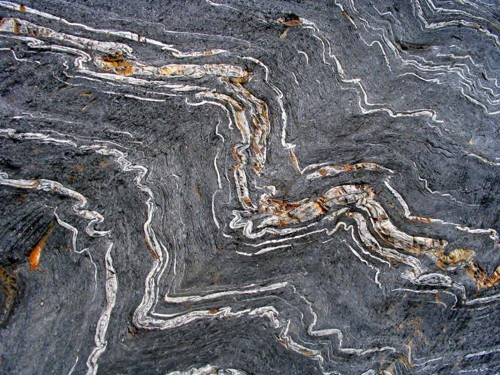 Petits plis dans des schistes noirs © Maison des Minéraux